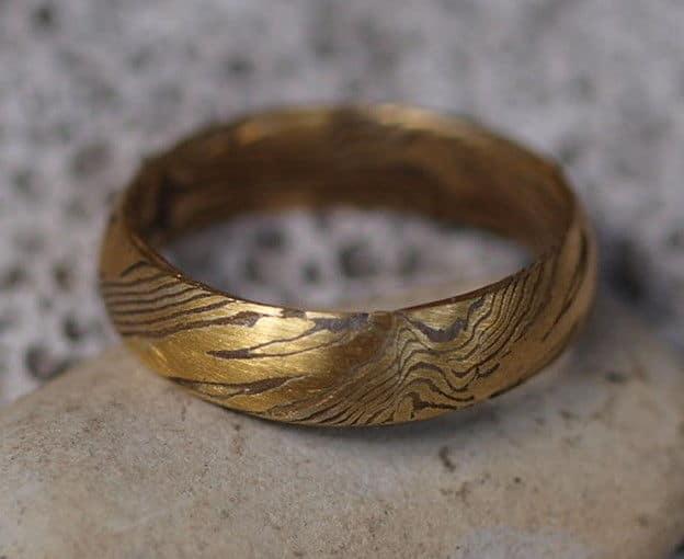 Unikat Ring Mokume gane Gold 900 Silber 925 Holzmaserung mit Augen Trauring