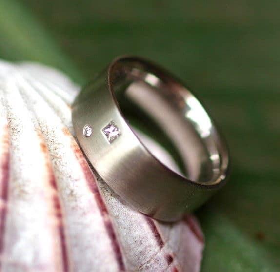 Unikat Ring Platin 950 bombiert Diamant Carree Viereck Brillant matt