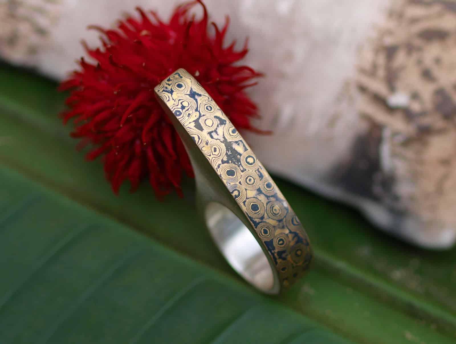 Unikat Ring Silber 925 mit Mokume Gane Gold 900 Palladium 500 2 Fingerring