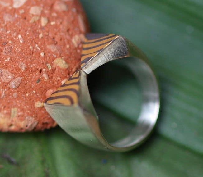 Unikat Ring Silber 925 mit Mokume Gane Gold 900 Palladium 500 Größe 56