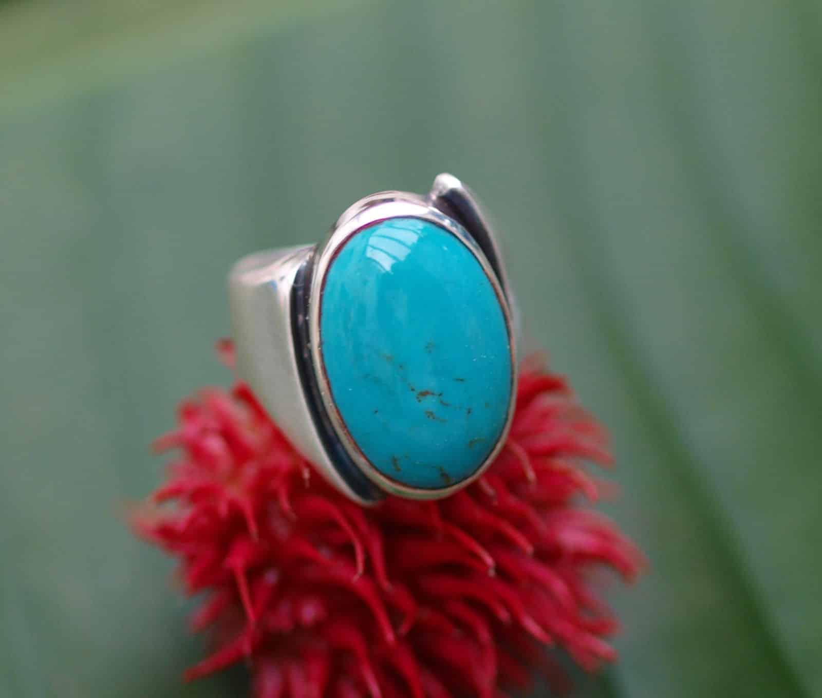 Unikat Ring Silber 925 tlw geschwärzt Türkis