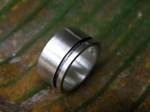 schlichter Designer Ring Silber 925 geschwärzte Rille