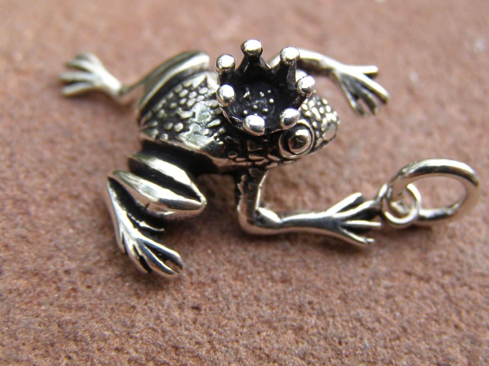 Anhänger Silber 925 Froschkönig Frosch mit Krone