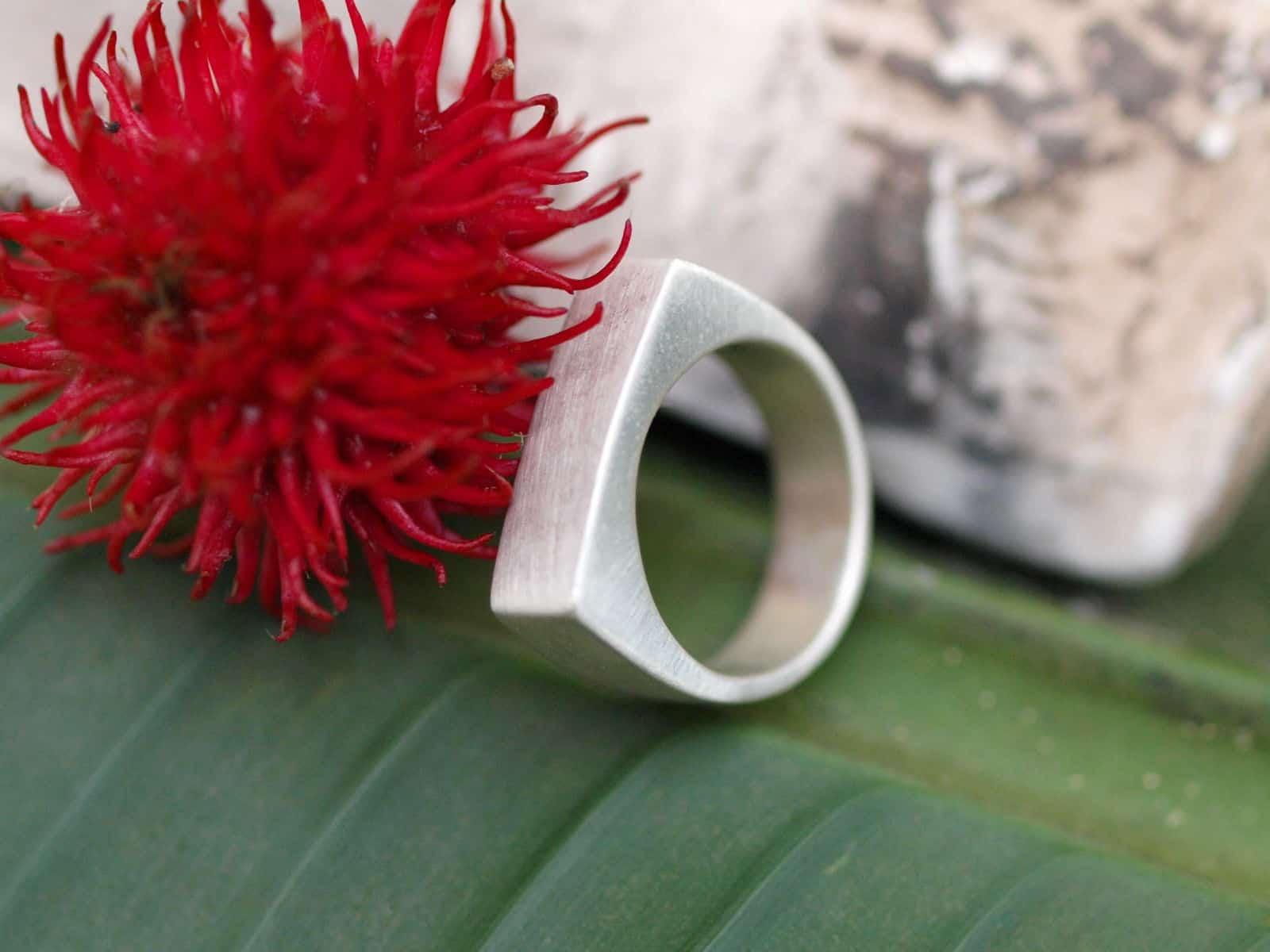 Designer Ring Silber 925 Fläche Rechteck matt