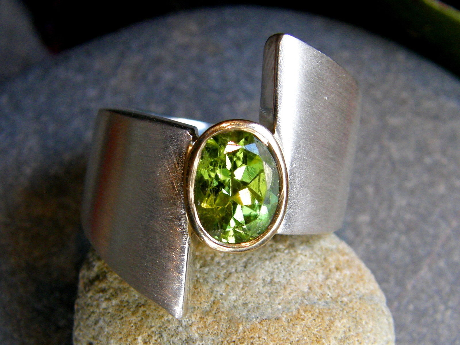 Designer Ring Silber 925 Gold 750 Peridot