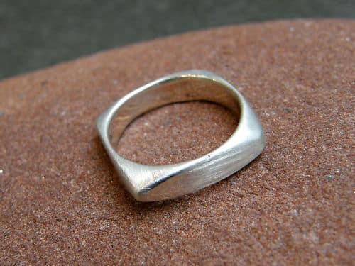 Designer Ring Silber 925 Viereck matt