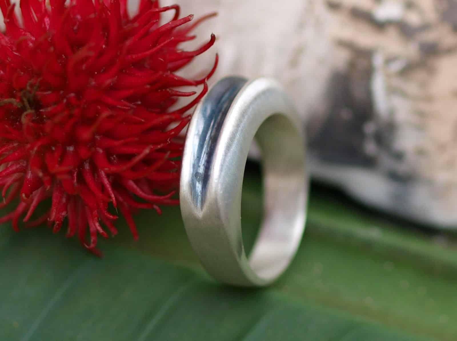 Designer Ring Silber 925 geschwärzte Rille