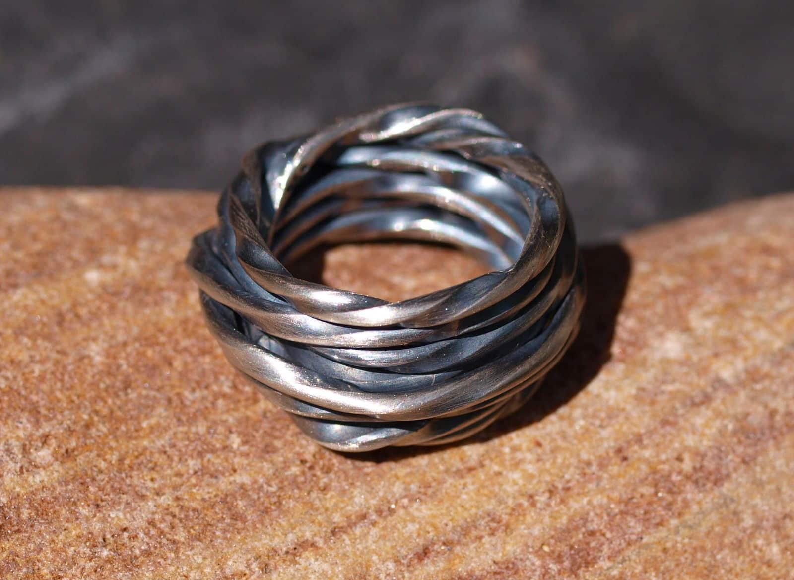 Designer Ring Silber 925 gewickelt matt geschwärzt Unikat