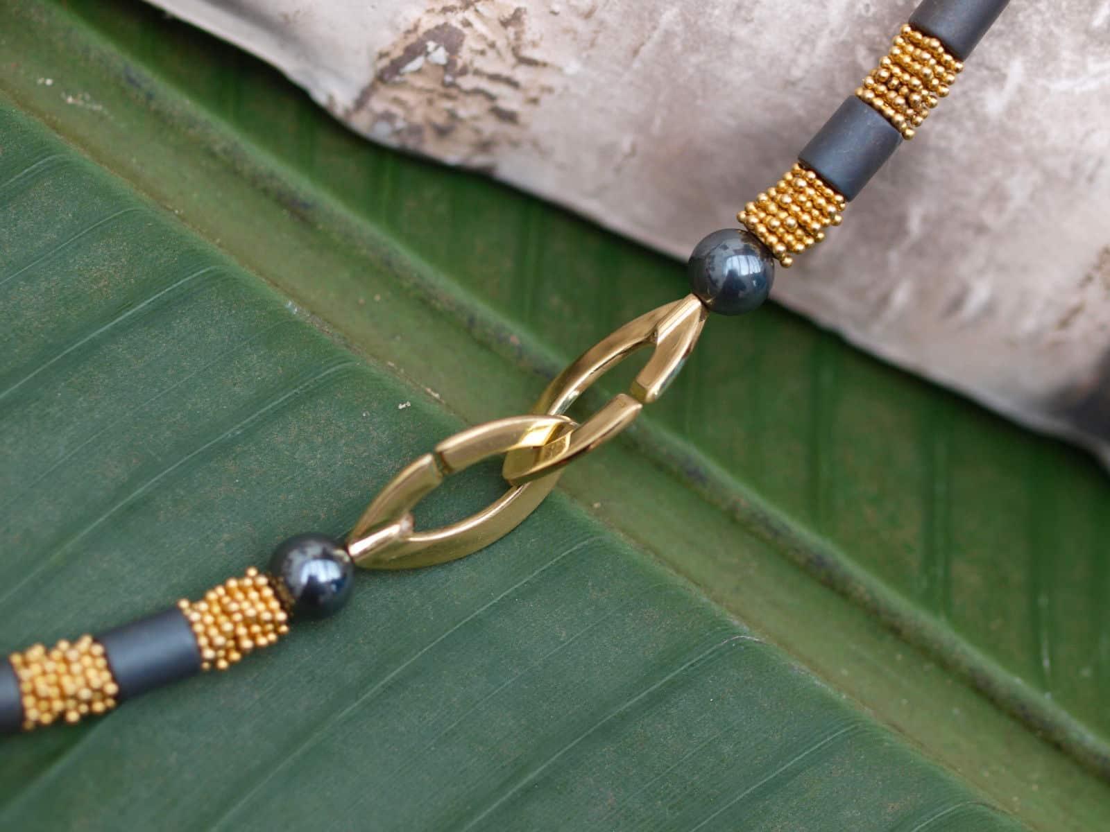 Leguan Kette Silber 925 vergoldet Hämatit Designerverschluss Unikat