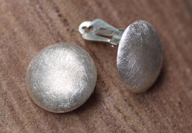 Ohrclips Ohrschmuck Clip Silber 925 eismattiert Kreis rund gewölbt