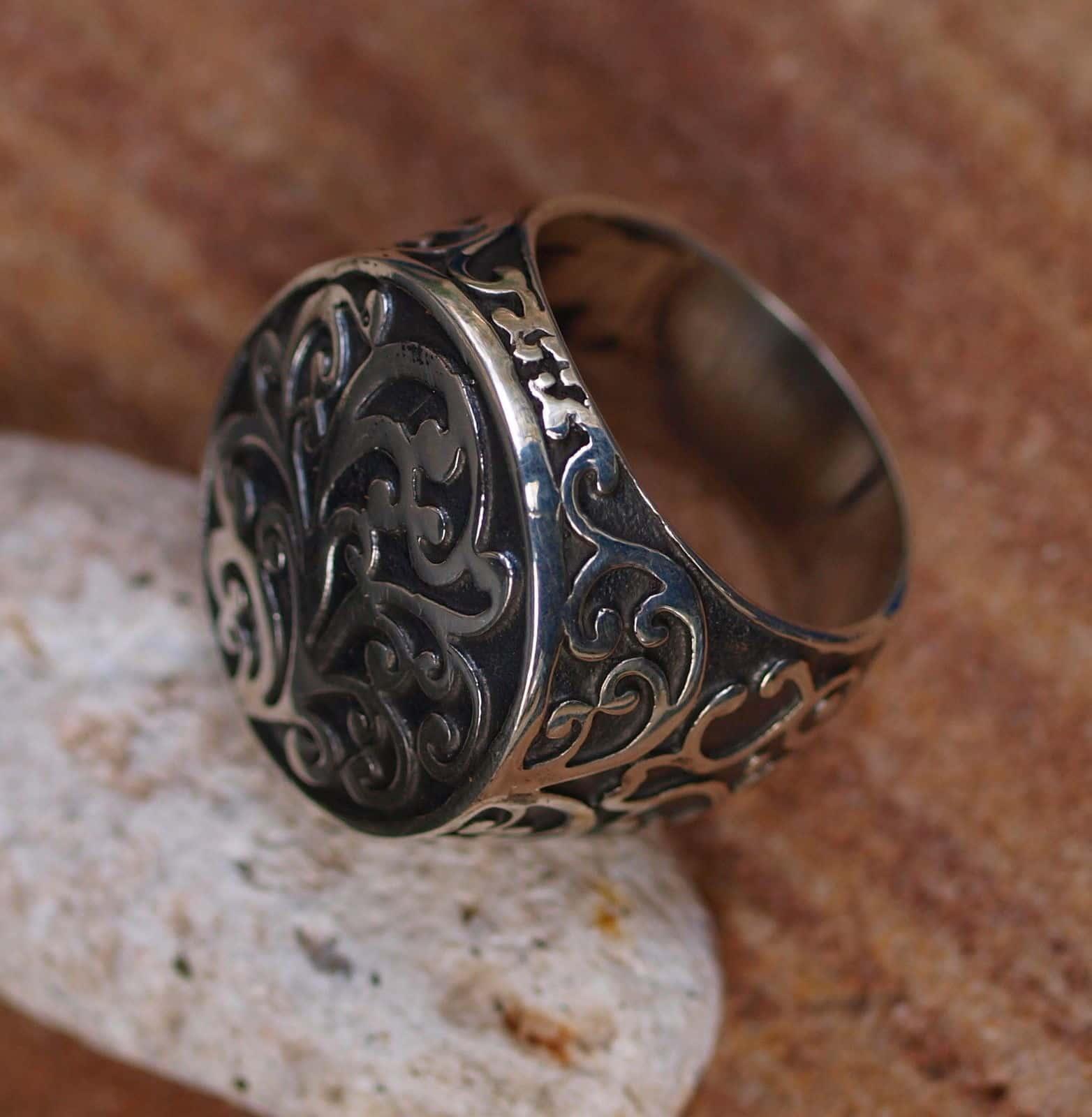 Ring Siegelring Silber 925 florales Muster tlw. geschwärzt