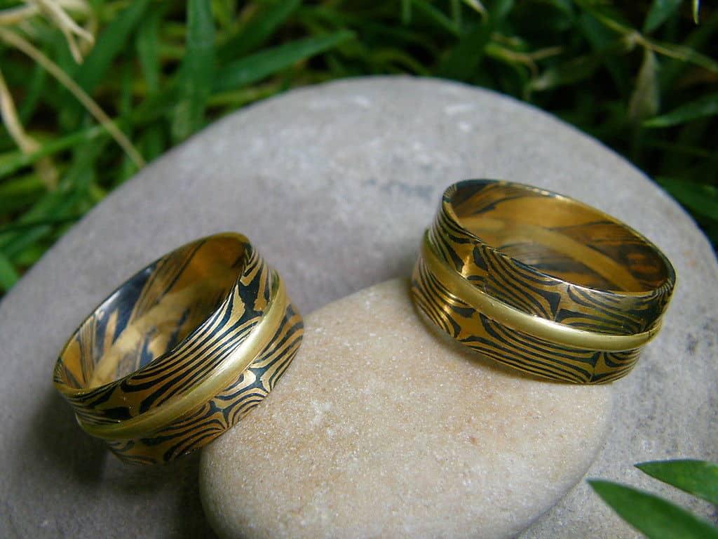 Trauringe Mokume Gane Gold 900 Palladium 500