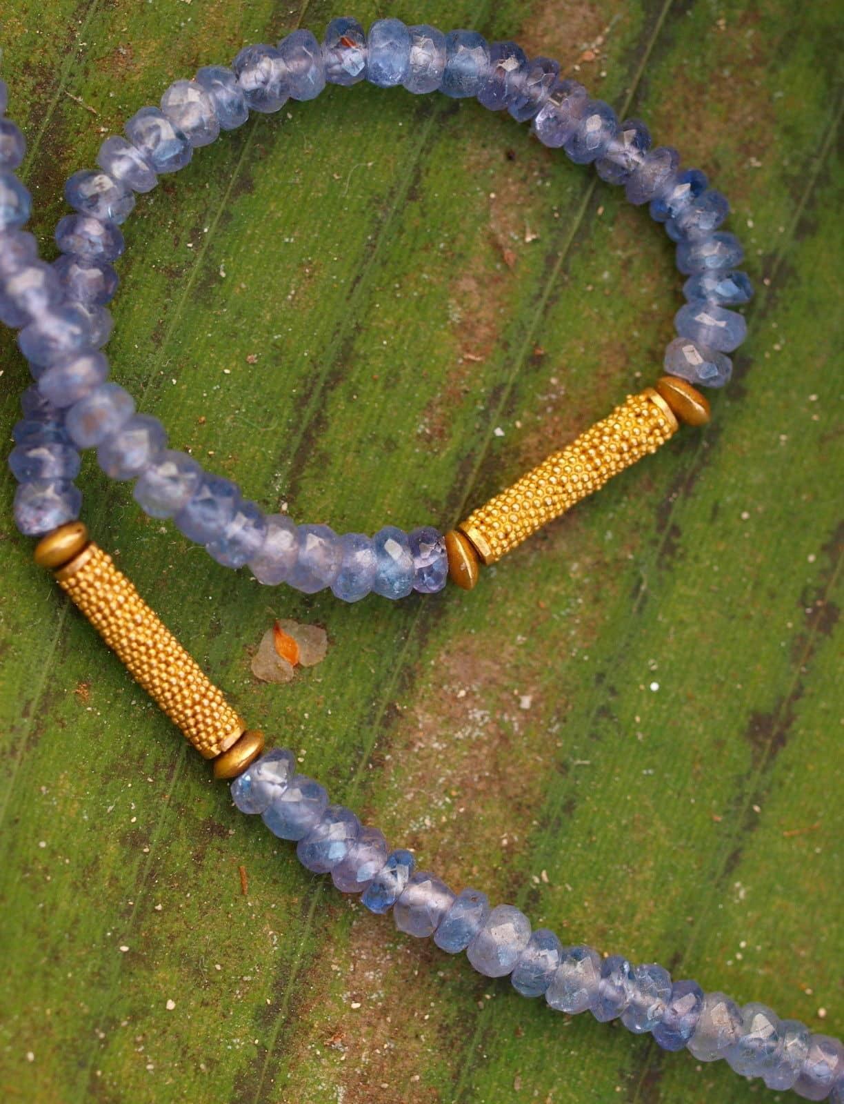 Unikat Kette Gold 900 granuliert Tansanit facettiert