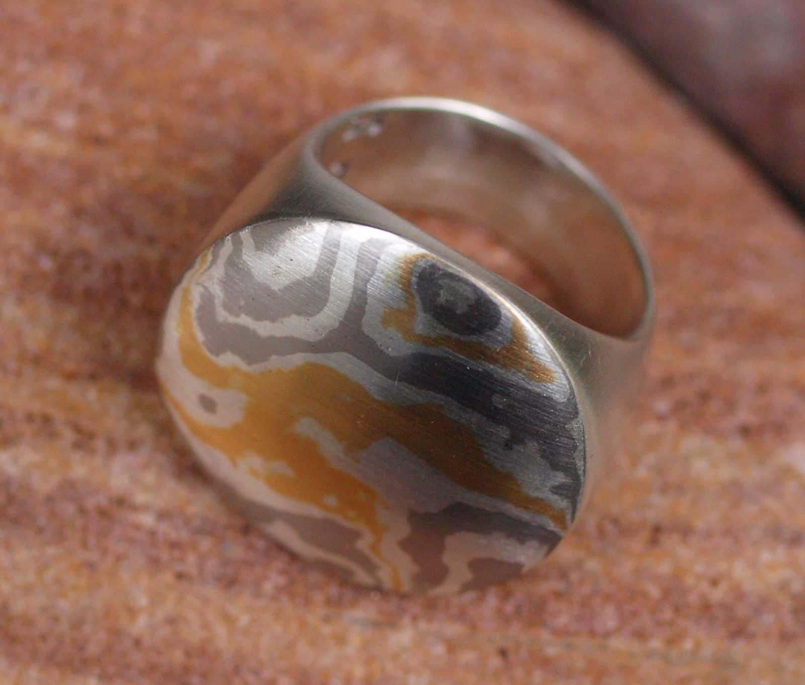 Unikat Ring Kreis Mokume Gane Silber 925 Gold 900 Palladium 500