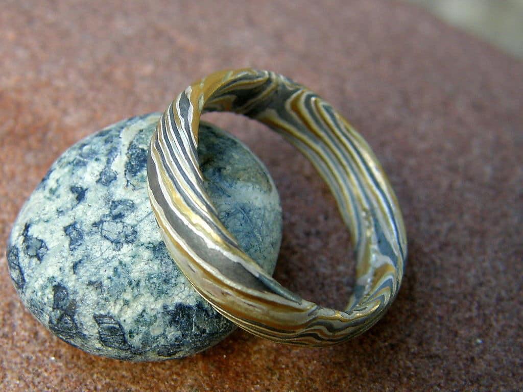 Unikat Ring Mokume gane Silber 925 Gold 900 Palladium 500