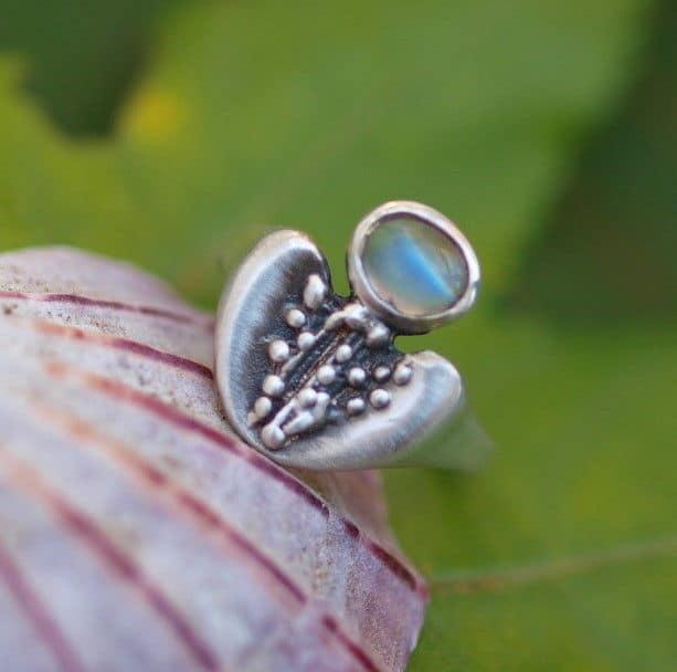 Unikat Ring Silber 925 Ceylon Mondstein zweifarbig blau-rot 56,5