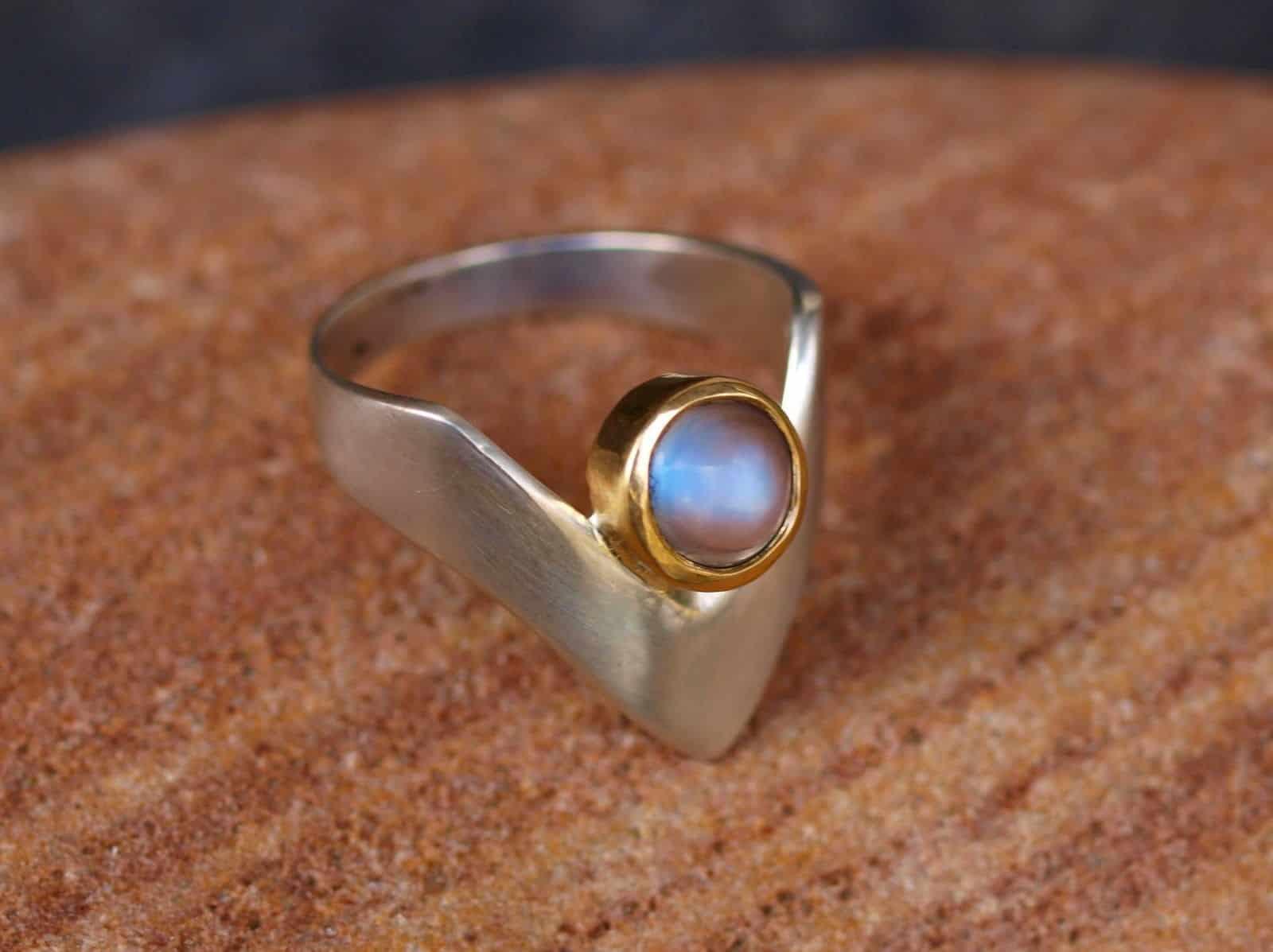 Unikat Ring Silber 925 Gold 750 Ceylon Mondstein