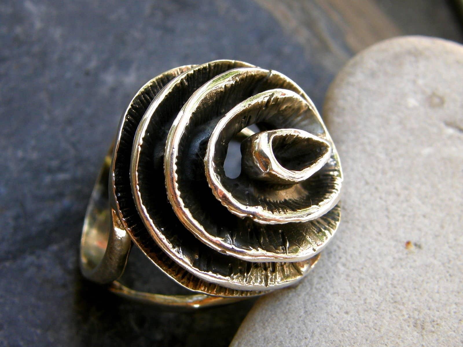 Designer Ring Silber 925 Blume Rose Wirbel tlw. geschwärzt