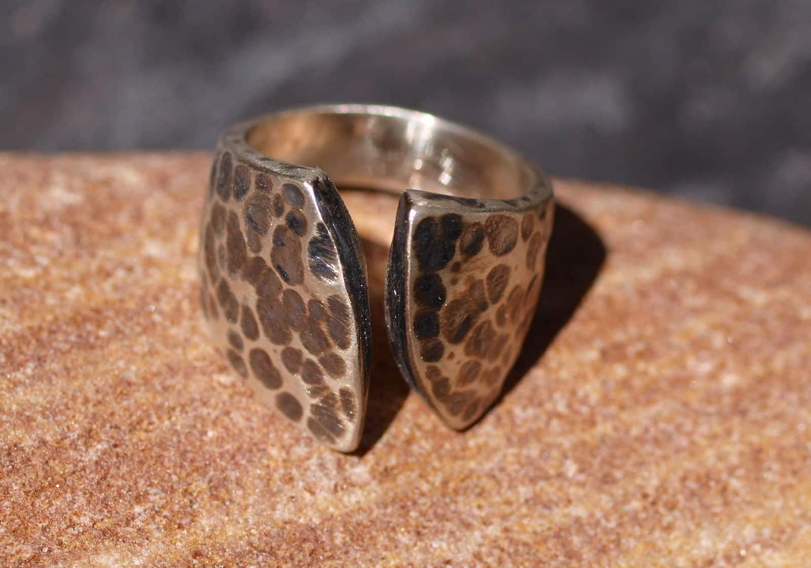 Designer Ring Silber 925 geschmiedet gehämmert offen
