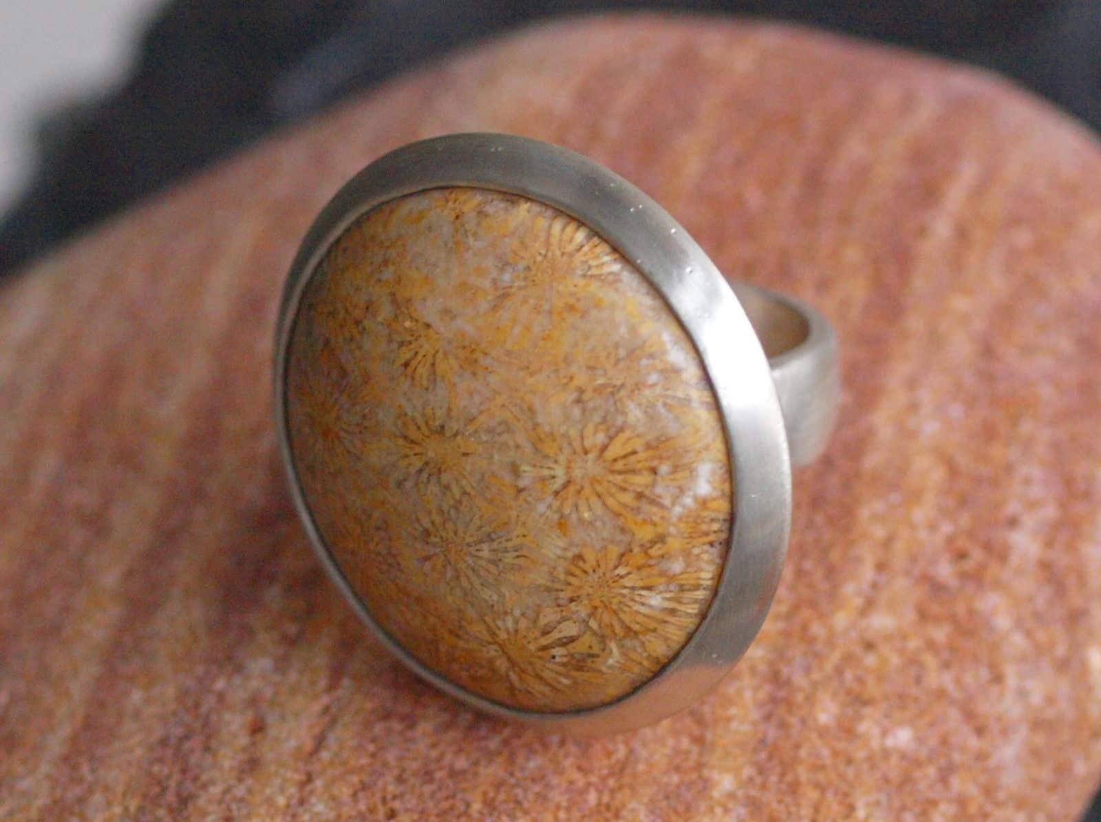 Designer Ring Silber 925 versteinerte Koralle