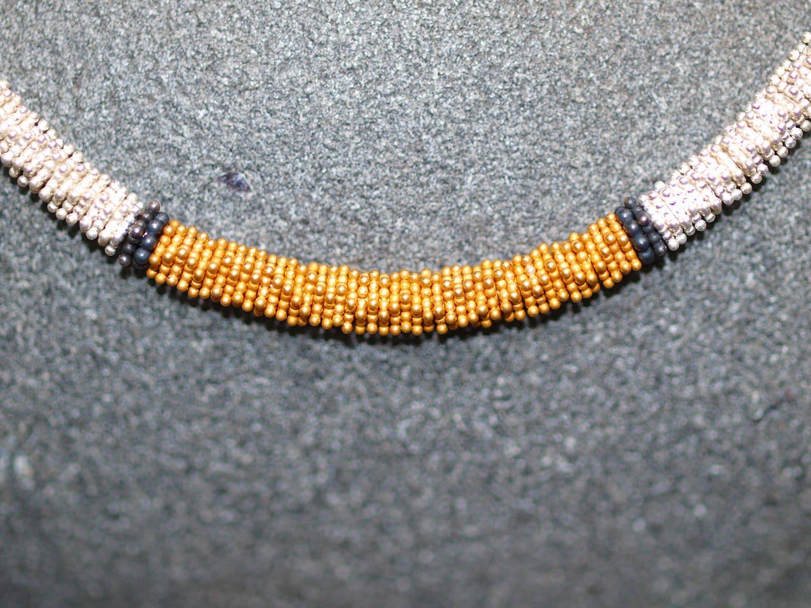 Leguan Kette Silber 925 tlw. vergoldet sulfidiert Unikat