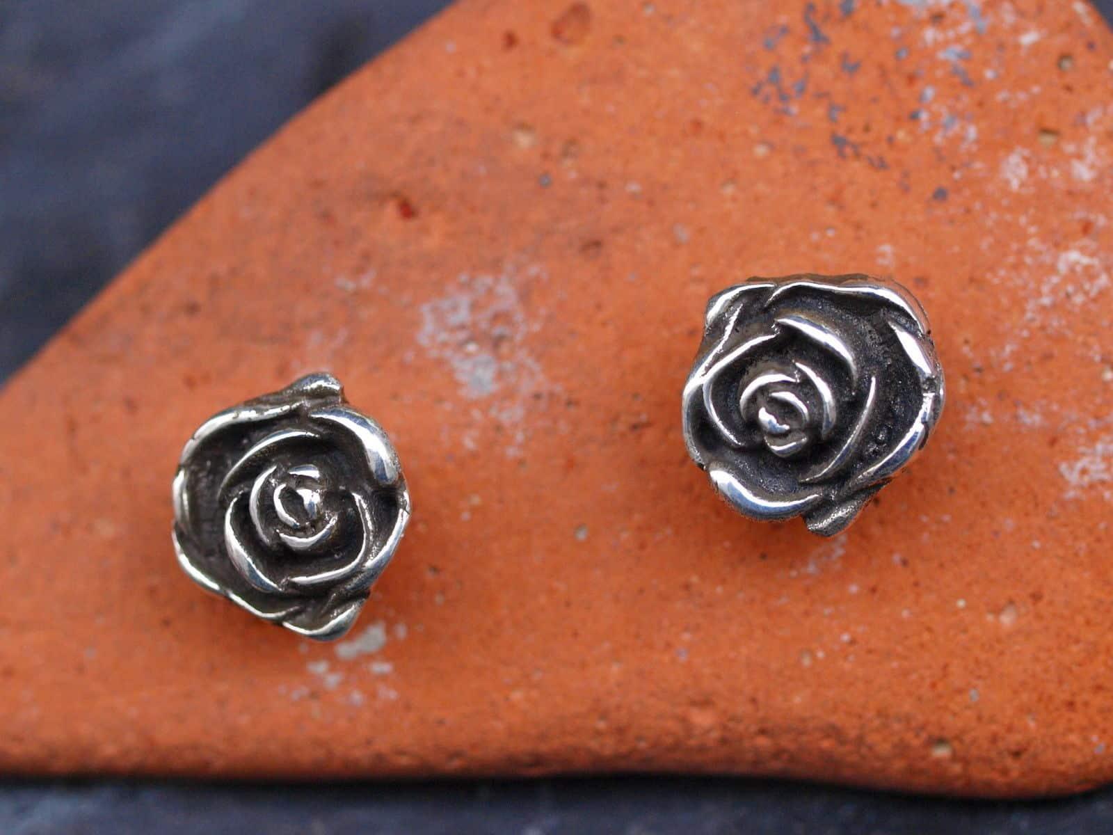 Ohrstecker Silber 925  Rosen tlw. geschwärzt