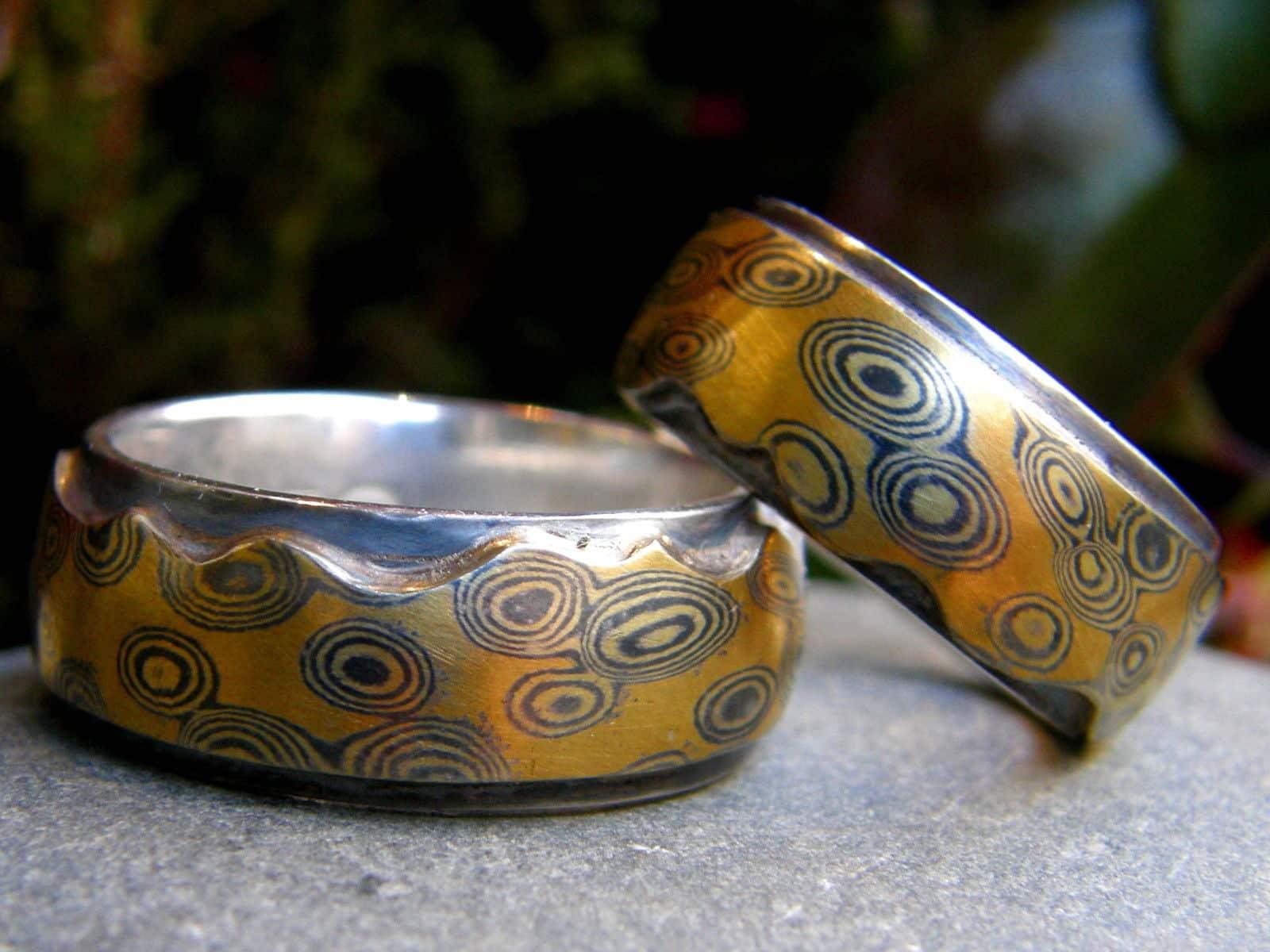 Trauringe Mokume Gane Gold 900 Palladium 500 Silber 925 Wurzelholzmaserung