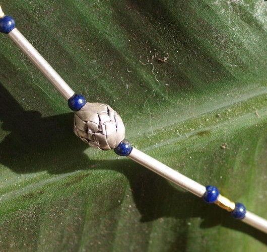 Unikat Kette Silber 925 Oliven gefaltet tlw.vergoldet Lapis lazuli Stäbe 64 cm
