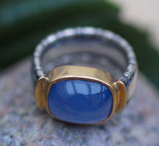 Unikat Ring Silber 925 Gold 900 Chalcedon 58/18,5