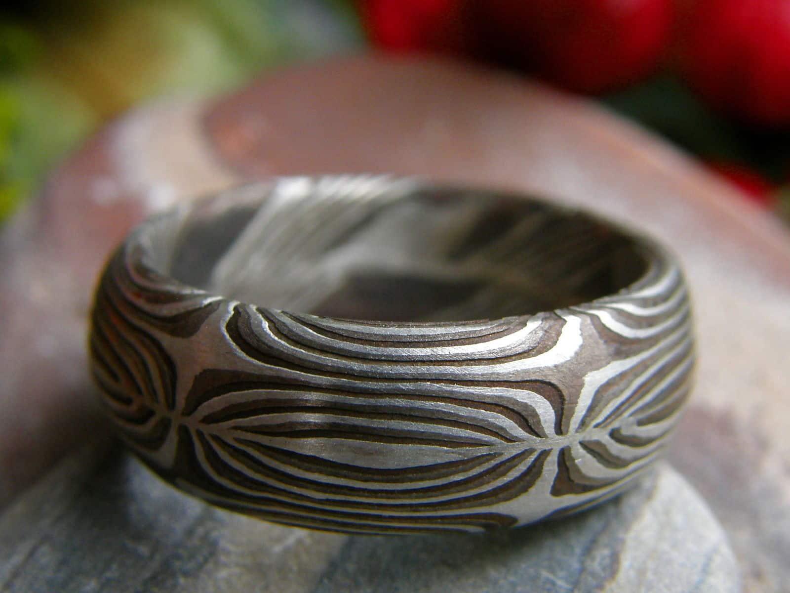 Unikat Ring Silber 925 Shakudo Shibuichi Mokume gane Trauring geätzt