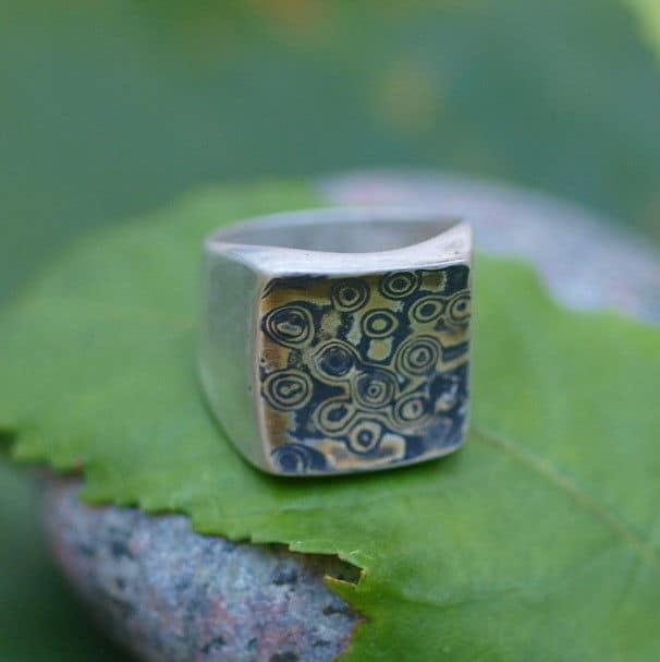 Unikat Ring Silber 925 mit Mokume Gane Gold 900 Silber 925 geätzt