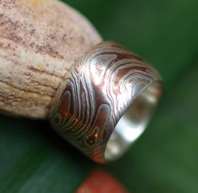 Unikat Ring Silber 925 mit Mokume Gane Shibuichi Kupfer Größe 55 geätzt