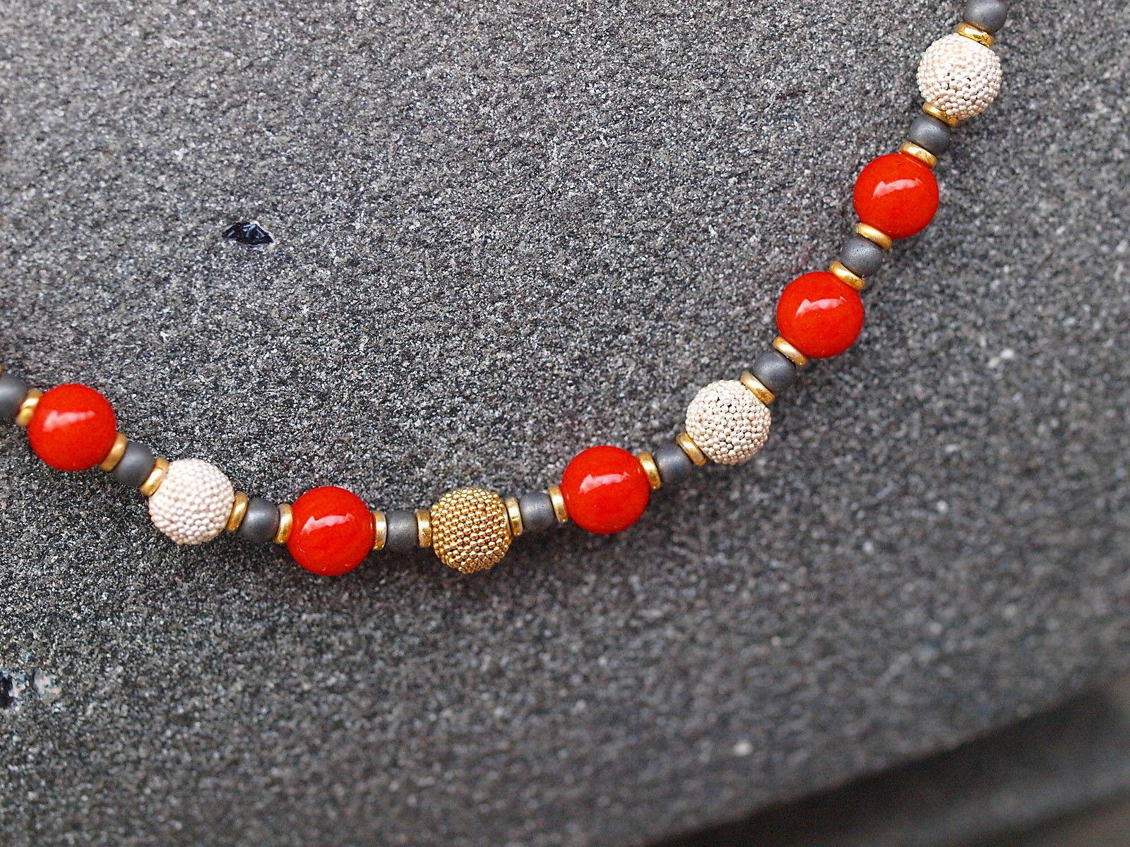 Designer Kette Silber 925 tlw vergoldet Koralle Hämatit