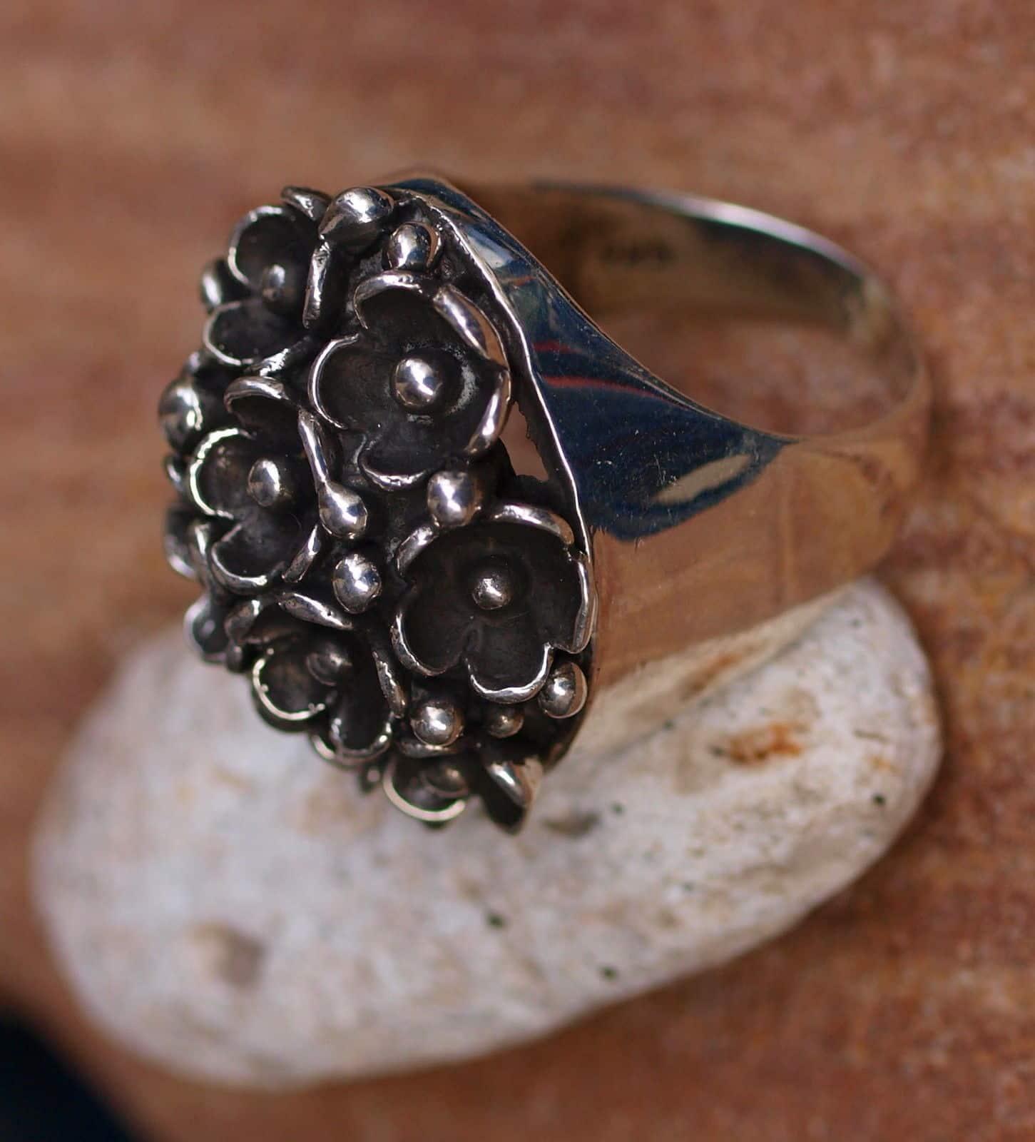 Designer Ring Silber 925 Blümchen Blume Bouquet tlw. geschwärzt