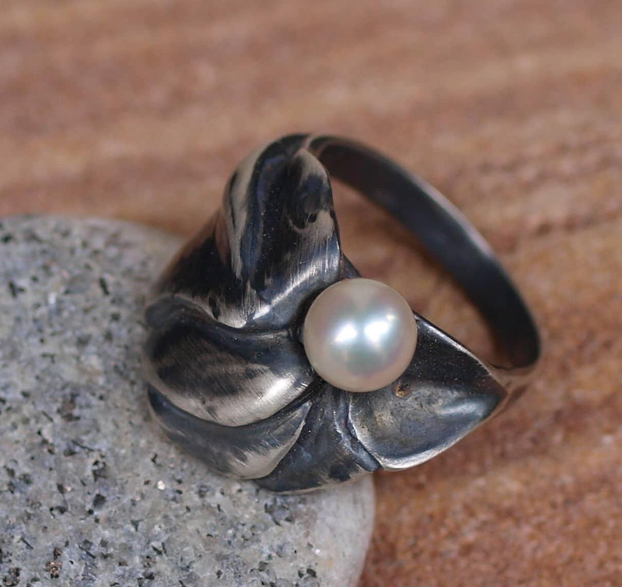 Designer Ring Silber 925 Perle Zuchtperle Akoya 55