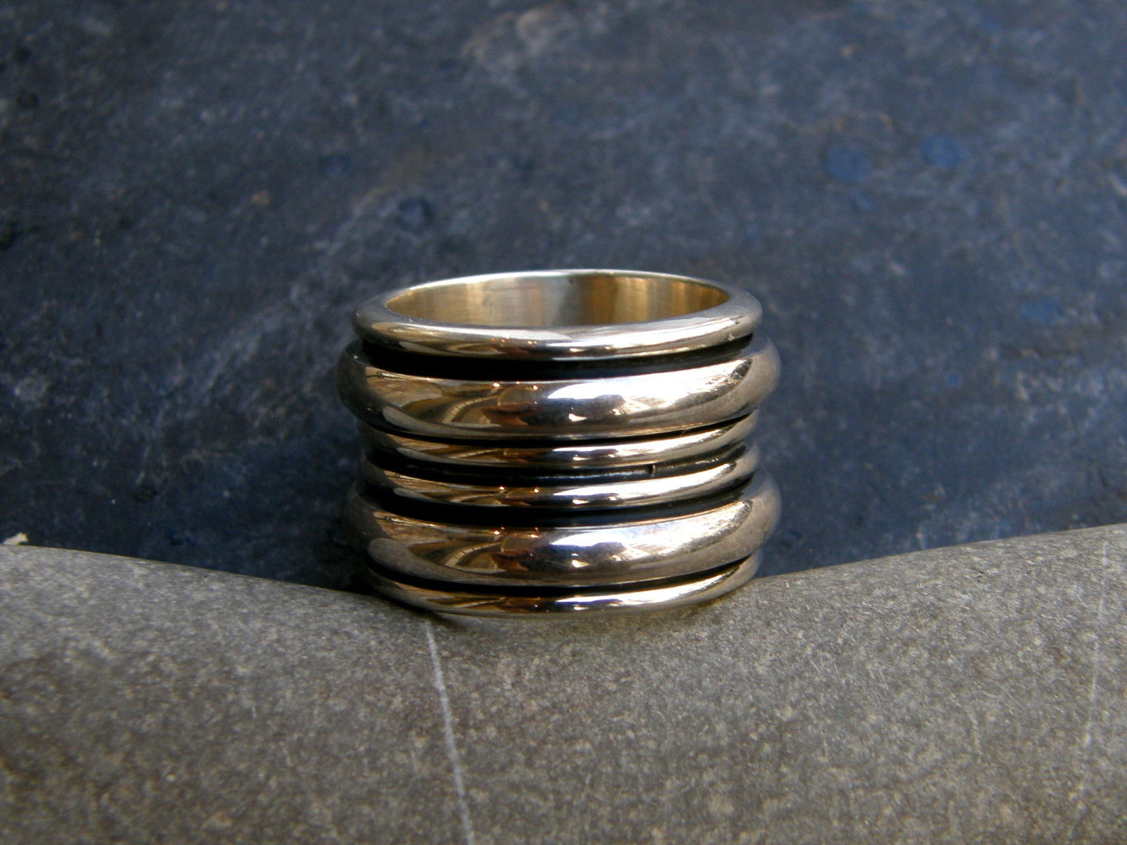 Designer Ring Silber 925 poliert Klingelring Ring in Ringe 55