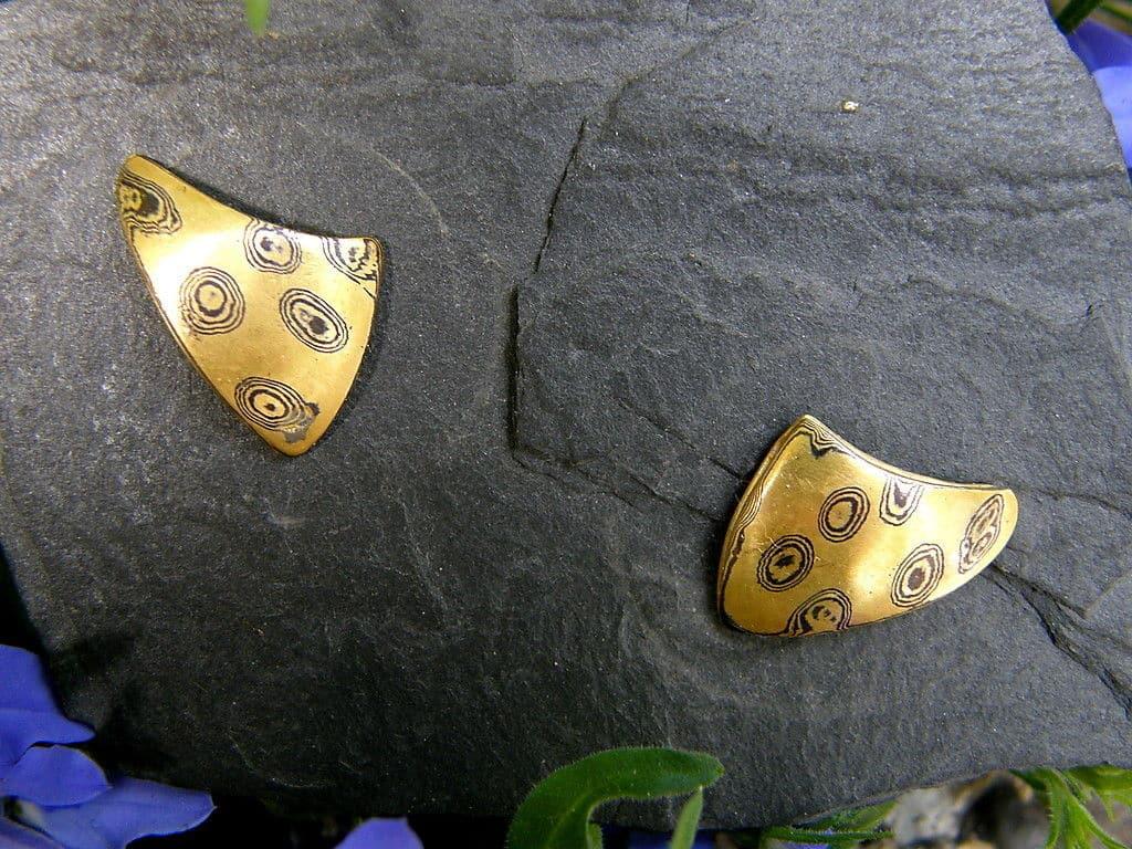 Mokume gane Ohrstecker Gold 900/750 Palladium Unikat