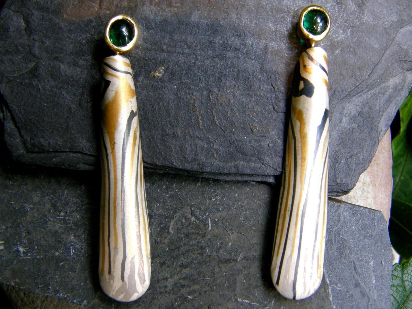 Ohrschmuck Mokume Gane Gold 750/900 Palladium 500 Silber 925 Smaragd