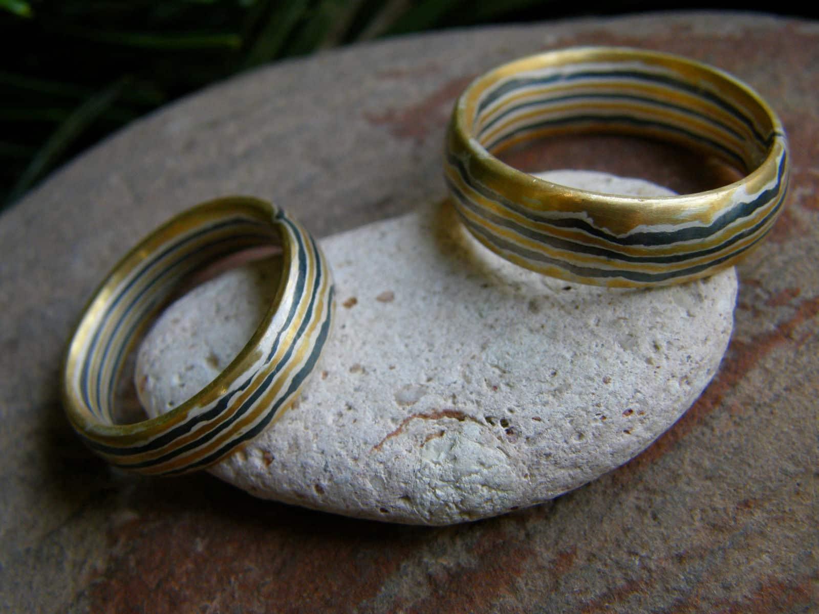Trauringe Mokume Gane Gold 900 Palladium 500 Silber 925 1 Paar