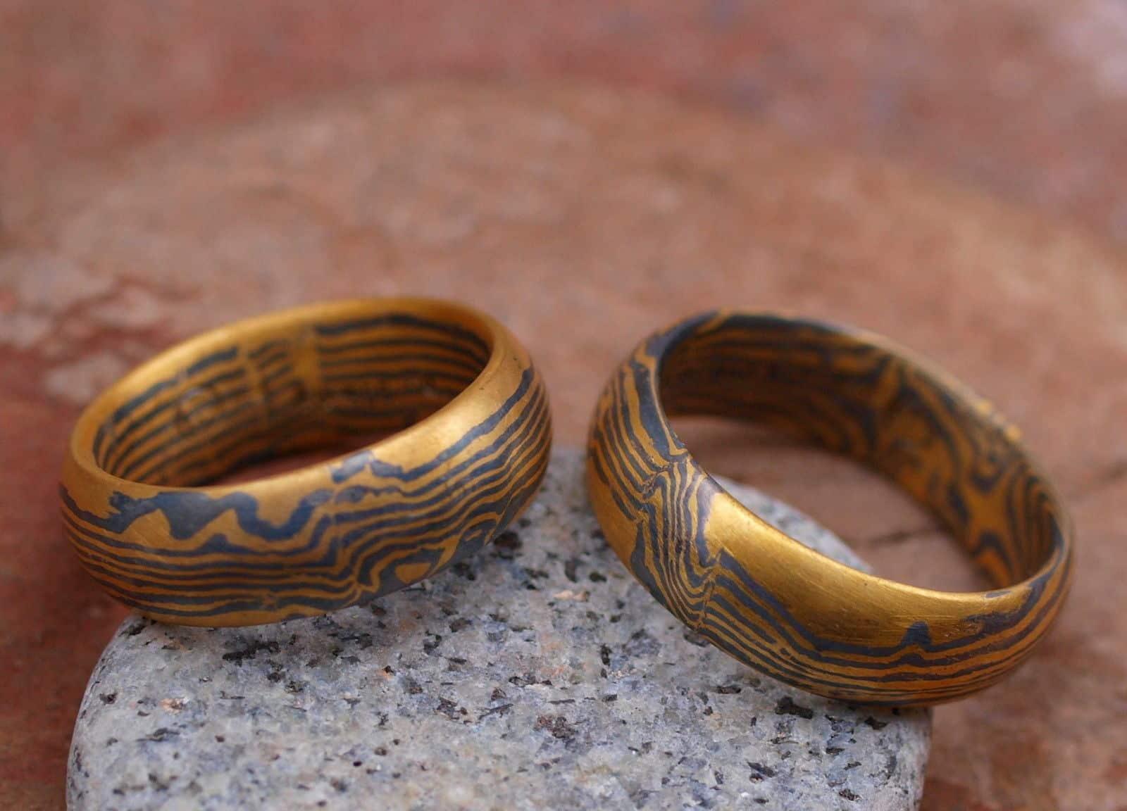 Trauringe Mokume Gane Gold 900 Palladium 500 Wellenmuster