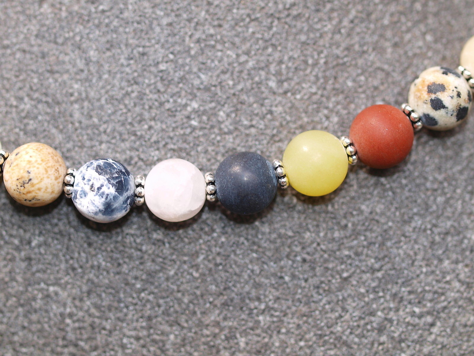 Unikat Kette Silber 925 diverse Halbedelsteine Kugeln bunt