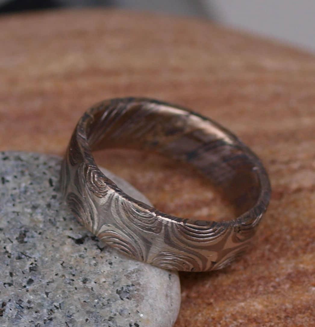 Unikat Ring Mokume gane Rotgold 585 Palladium 500 Silber 925 Sternmuster geätzt