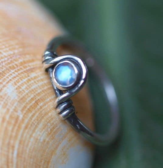 Unikat Ring Silber 925 Ceylon Mondstein rund facettiert 52