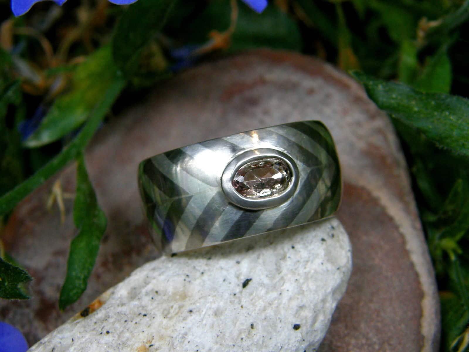 Unikat Ring Silber Palladium Saphir lachs-rosa