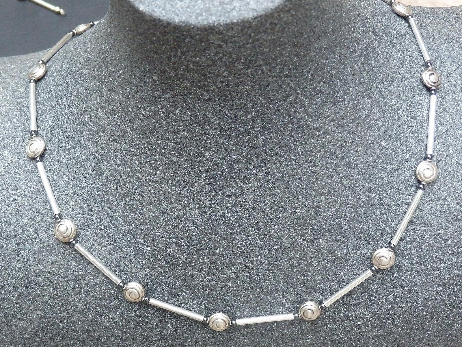 Designer Kette Silber 925 Hämatit Schnecken 46,5 cm