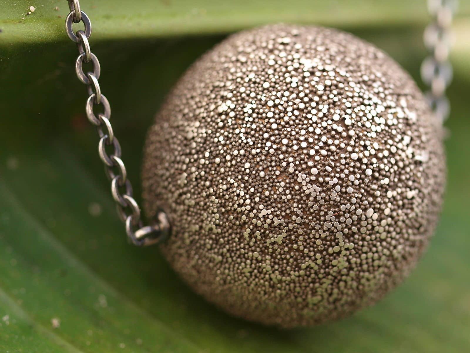 Designer Kette Silber 925 granulierte Kugel geschwärzt