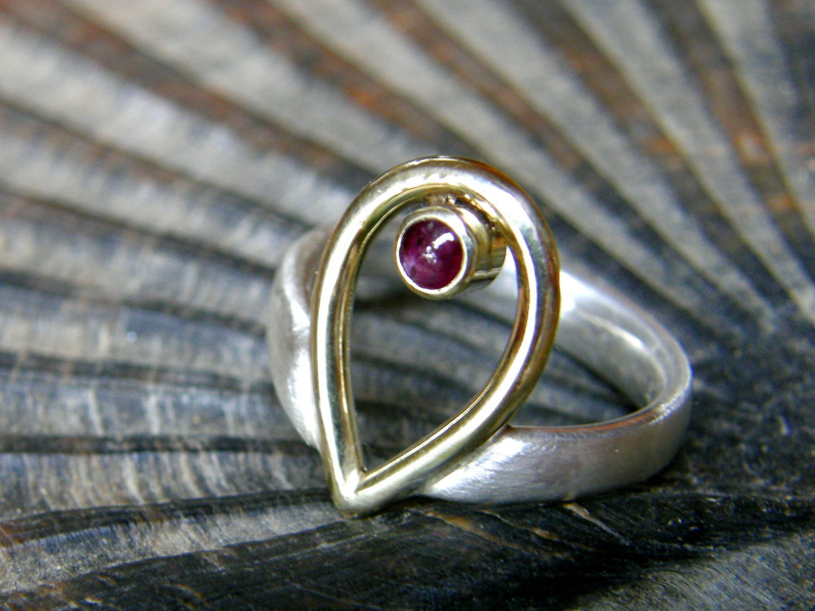 Designer Ring Silber 925 Gold 585 Rubin