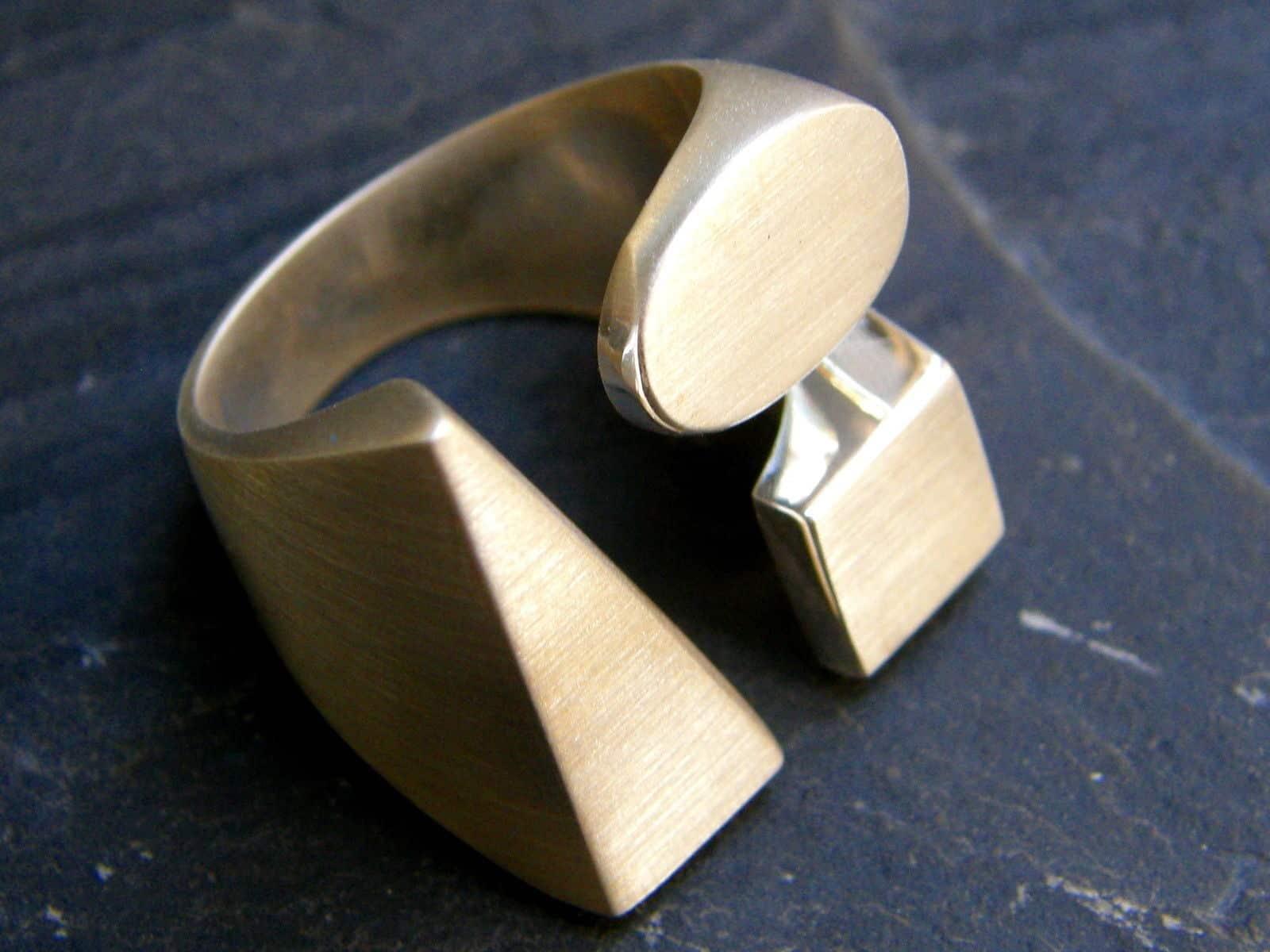 Designer Ring Silber 925 massiv Dreieck Viereck oval offen matt 58
