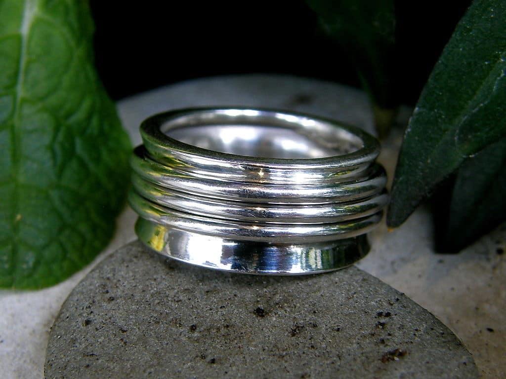 Designer Ring Silber 925 poliert Klingelring Ring in Ringe