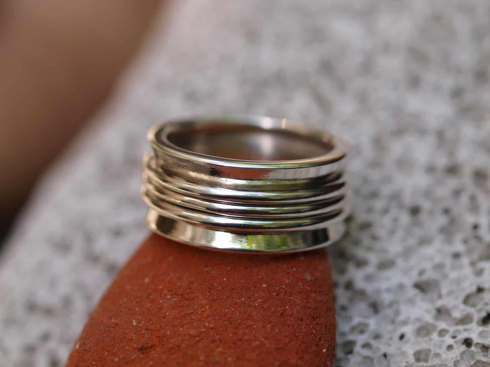 Designer Ring Silber 925 poliert Klingelring Ring in Ringe 52